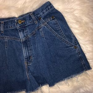 Vintage High Waist Pleated Distressed Denim Shorts